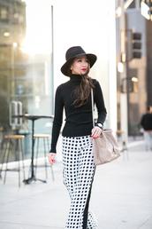 wendy's lookbook,blogger,bag,hat,optical,black and white,polka dots,shoulder bag,pants,turtleneck,polka dot pants,wide-leg pants,ribbed top,long sleeves,felt hat,black hat,nude bag