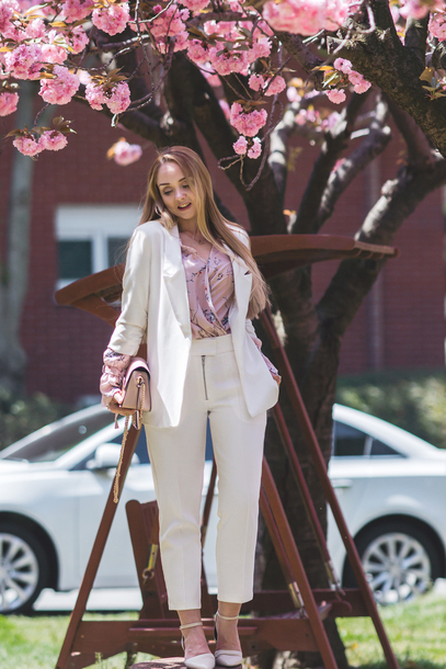 my blonde gal blogger blouse bag pants jacket jewels shoes blazer pink blouse spring outfits suit white suit