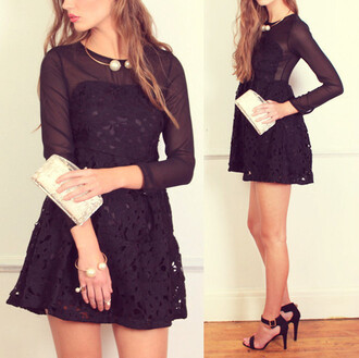 dress black dress black crochet dress black sheer dress christmas dress winter dress little black dress crochet sheer