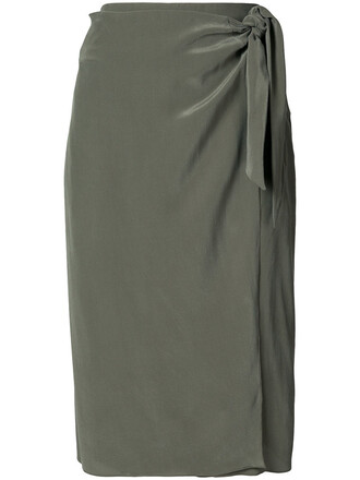 skirt wrap skirt women silk green