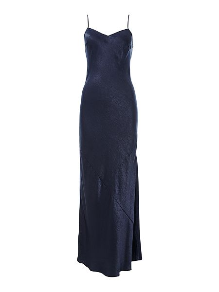 Hammered satin maxi slip dress