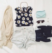 flowers,daisy,daisy top,shorts,sunglasses,jewels,blouse,sweater,t-shirt,cardigan,bag,shoes,mint,handbag,jacket,shirt,floral,crop tops,floral tank top,top,summer,summer outfits,spring outfits,fashion,music,music festival,tumblr,clothes,los angeles,black,necklace,navy,yellow,spring,vest,crop,High waisted shorts,tank top,denim,denim shorts,beige,black daisy crop top,combat boots,tumblr outfit,cream,muscle tee,girly,blue