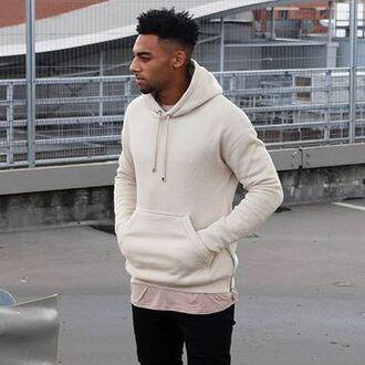 sweater maniere de voir sweatshirt hoody beige embossed essential hooded top nude cream