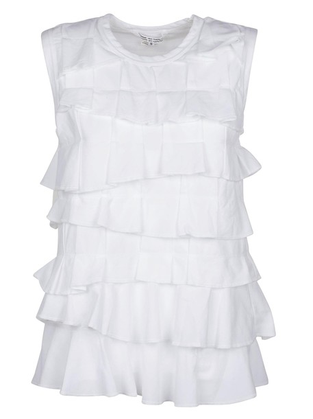 Comme des garcons blouse sleeveless layered white top