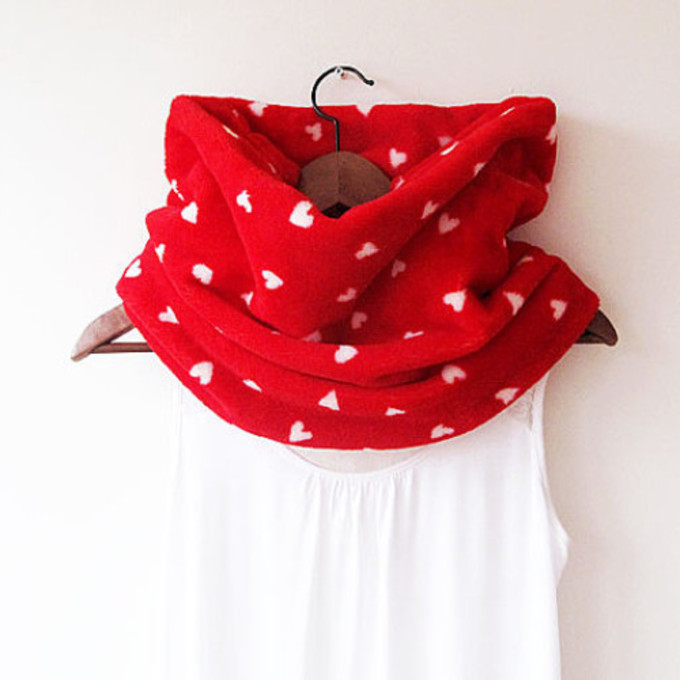 infinity scarf circle scarf winter scarf heart scarf winter scarfs trends heart neckwarmer scarf red