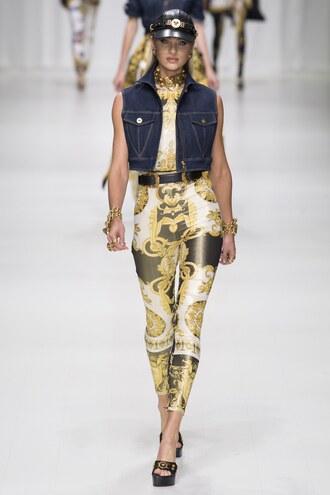 pants leggings jacket vest milan fashion week 2017 candice swanepoel top versace runway