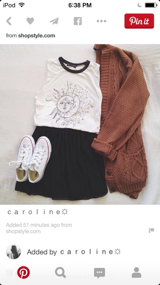cardigan star and moon shirt black and white shirt brown cardigan black shorts converse white converse