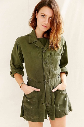 khaki ripped pockets romper