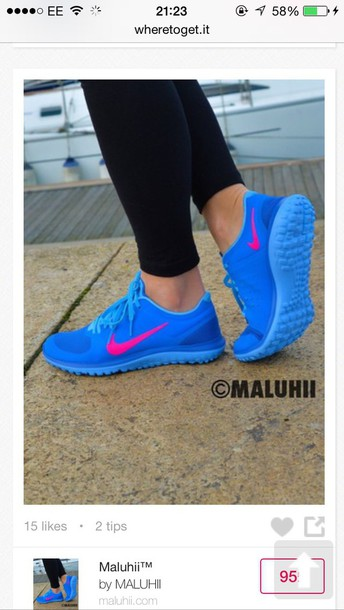 shoes nike running shoes blue pink blue and pink blue shoes nike shoes blue nike running shoes nike air nike nike sneakers nike free run colorful pink hot bright sneakers cute style fashion blue sneakers