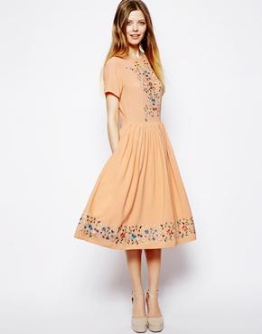 ASOS | ASOS Premium Midi Skater Dress With Pretty Embroidery at ASOS