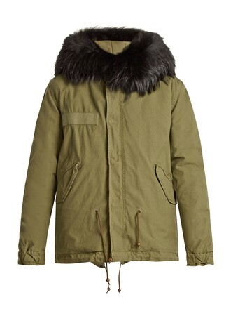 parka mini fur cotton khaki coat