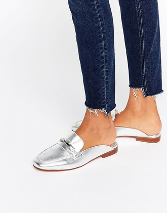 shoes silver shoes loafers