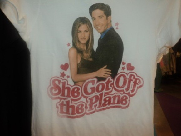 jennifer aniston rachel t-shirt ross tv white friends tv show friend 90s style plane heart stars