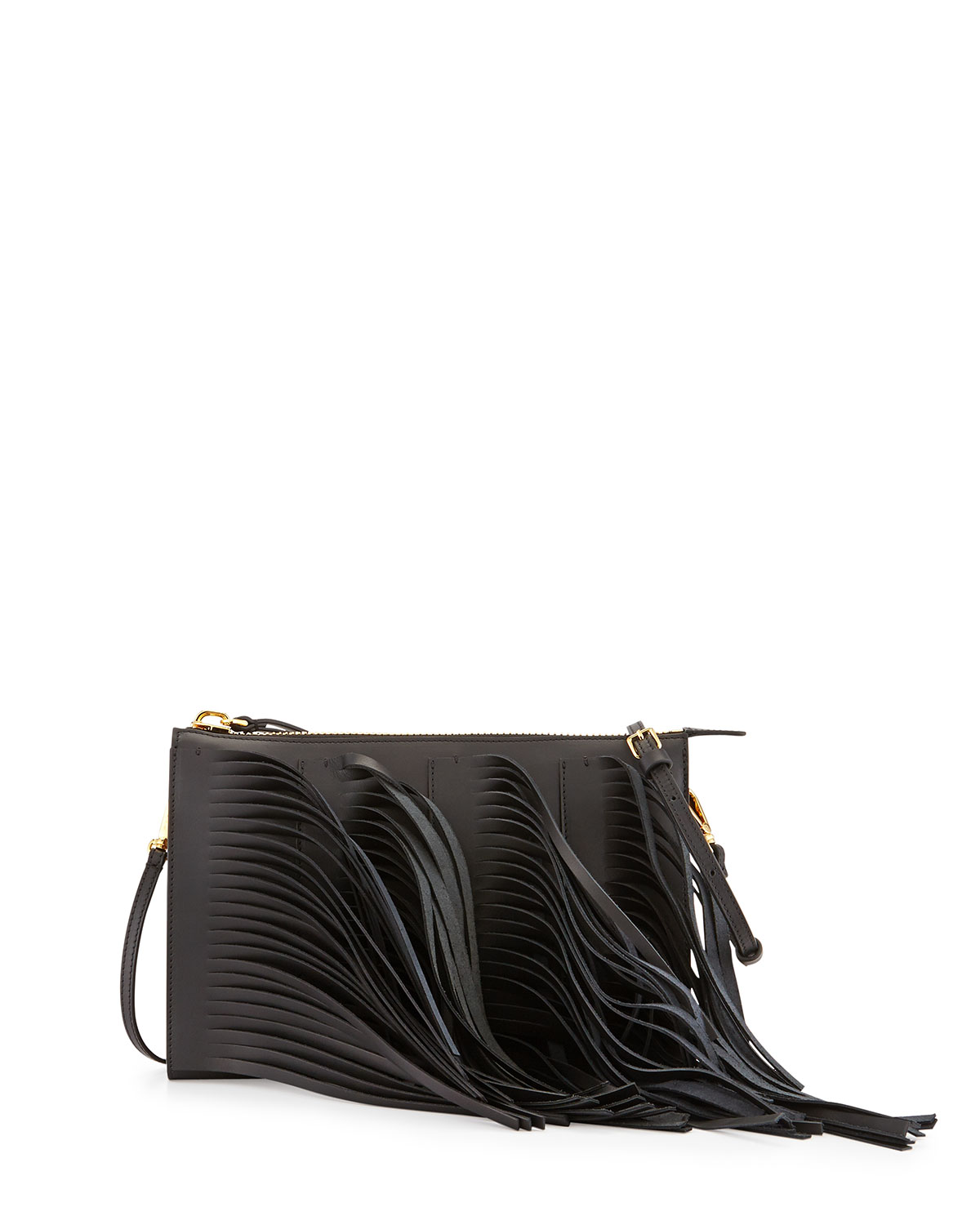 Marni Fringe Leather Zip Crossbody Bag, Black/Gray