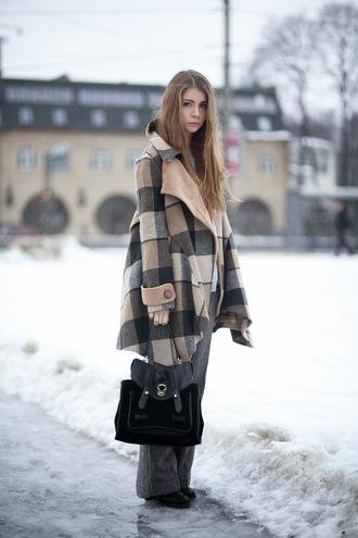 acid coke blogger winter coat black bag