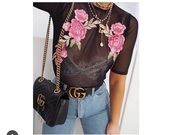 shirt,t-shirt,transparent,transparent top,floral,flowers,roses,gucci,crop tops,chic,pink,black,top
