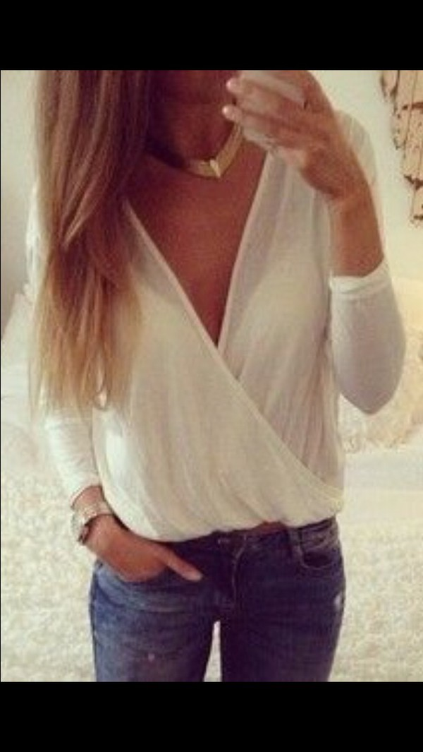 blouse white cute comfortable outfit