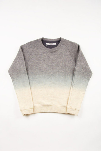 sweater grey tie dye ombre dip dyed jumper white clothes dip dyed