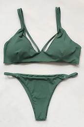 swimwear,bikini,bikini top,triangle bikini,swimwear two piece,green,sexy bikini,strappy bikini,i need this help,khaki,olive green,print,sun,summer,two-piece