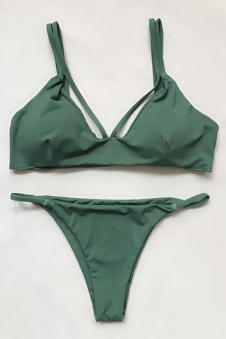 swimwear bikini bikini top triangle bikini swimwear two piece green sexy bikini strappy bikini i need this help khaki olive green print sun summer two-piece