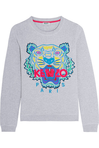 sweatshirt embroidered tiger cotton light sweater