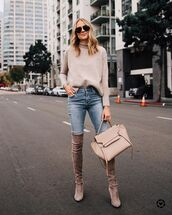 sweater,cashmere jumper,turtleneck,jeans,knee high boots,bag,sunglasses