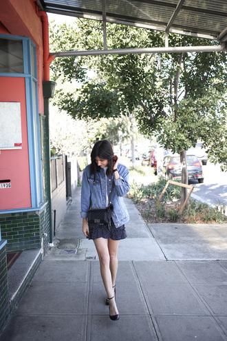 skirt mini skirt ruffle skirt pumps blogger blogger style polka dots denim jacket crossbody bag