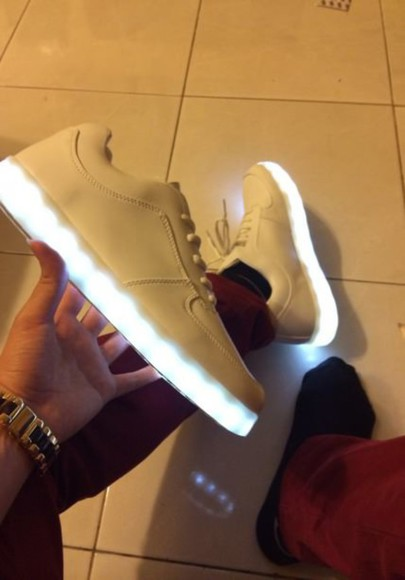 shoes white shoes glow in the dark menswear mens shoes light