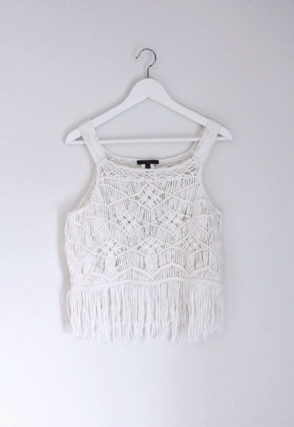 top festival white crop tops tassel