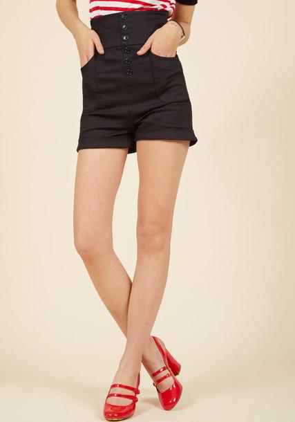 shorts black shorts retro style high fit black