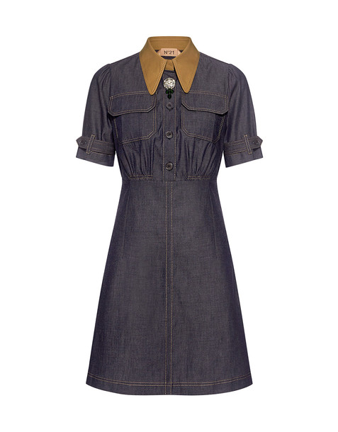 No.21 dress shirt dress denim mini embellished embellished denim