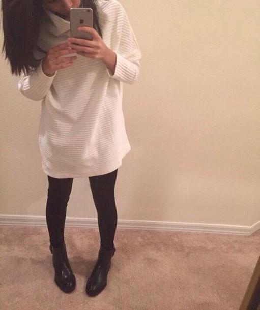 shirt white long sweater