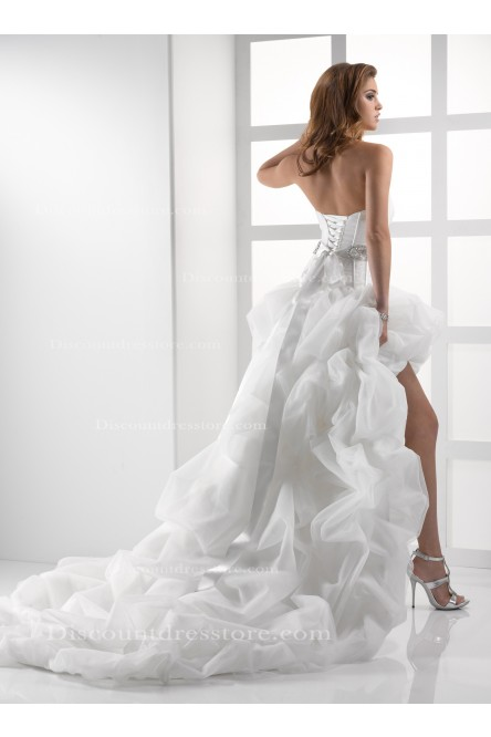 Cheap Sweetheart Ball Gown Organza Asymmetrical Wedding Dress