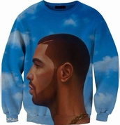 sweater,blue,clouds,drake,nothing was the same,music,jacket