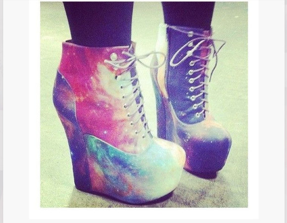 galaxy print shoes wedges booties