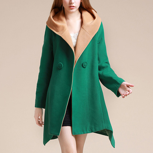 Style irregular hem hooded woolen coat
