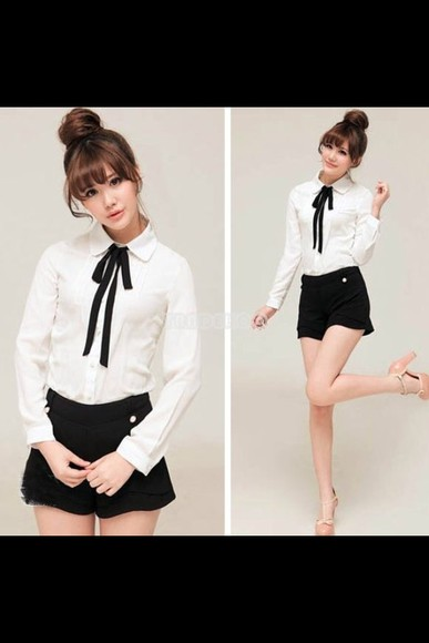 fashion blouse chic white vintage preppy peter pan collar