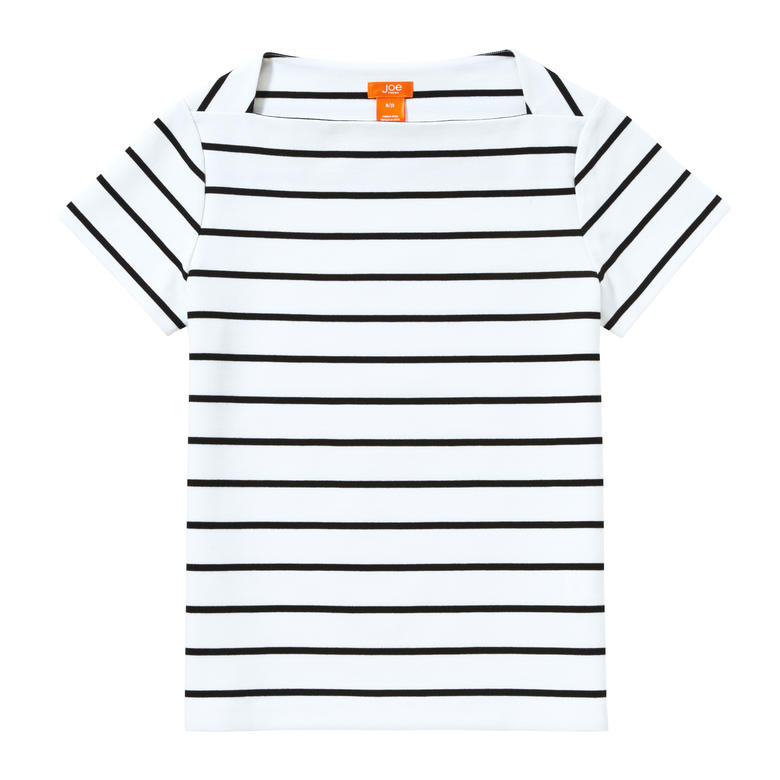 Thin Stripe Ponte Tee in White from Joe Fresh