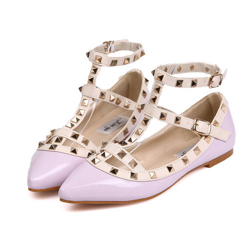 Gorgeous Pointed Closed Toe Rivet Embellished Purple PU Mary Jane Flats_Flats_Womens Shoes_Cheap Clothes,Cheap Shoes Online,Wholesale Shoes,Clothing On lovelywholesale.com - LovelyWholesale.com