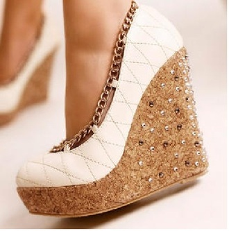 shoes white wedges chain cute white wedges bronze link