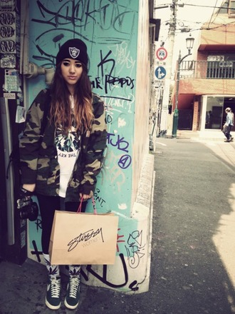 jacket raiders yolo swag girl camouflage swag shoes army green jacket shirt diamonds