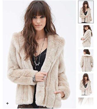 coat taupe fur coat faux fur winter coat