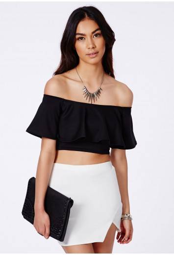 Sirinda Bardot Scuba Frill Crop Top - Crop Tops - Missguided
