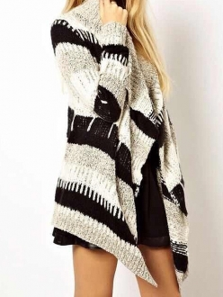 Black & white & gray contrast color striped asymmetric hem sweater coat
