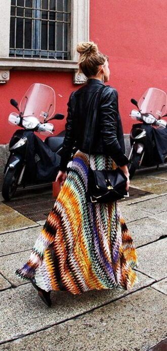 skirt crochet colorful maxi skirt missoni-esque