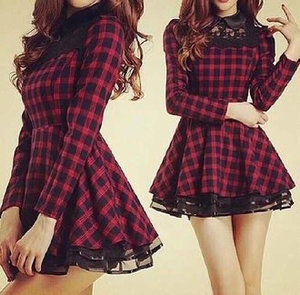 dress plaid short dress cute