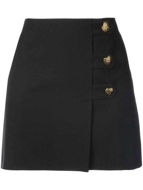 Saint Laurent skirt mini skirt heart mini women black silk wool