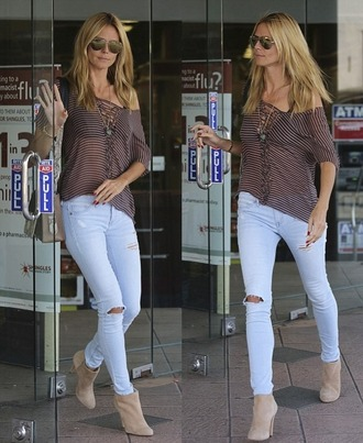 t-shirt top boots jeans fall outfits heidi klum