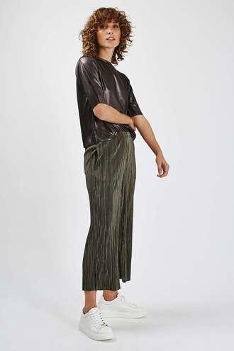 pants metallic pleated