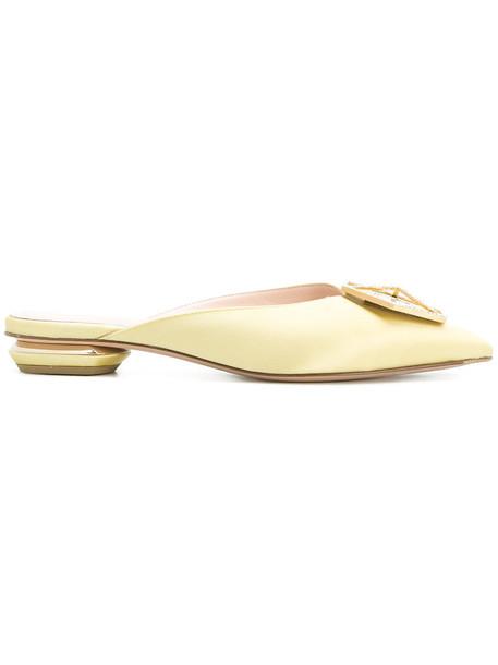 Nicholas Kirkwood women mules leather silk yellow orange shoes
